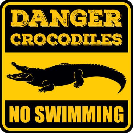 Danger crocodiles no swimming sign. Vector illustration.