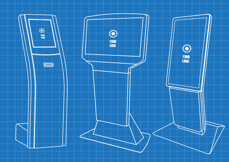 Blueprint of Set of Promotional Interactive Information Kiosk, Advertising Display, Terminal Stand, Touch Screen Display. Mock Up Template. Ilustração Vetorial