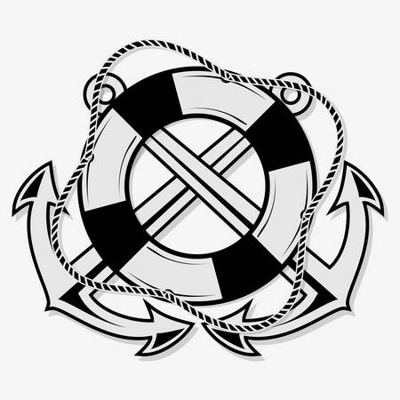 Crossed nautical anchors and lifebuoy. Vector illustration.