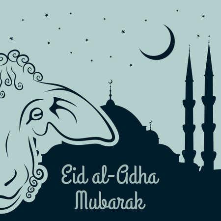Muslim Festival of Sacrifice Eid-Al-Adha greeting card with sheep.