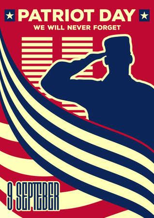 Patriot Day vintage banner or poster. We will never forget September 11. Vector illustration Ilustração Vetorial