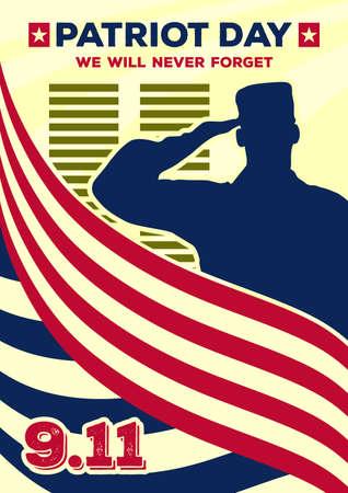 Patriot Day starodawny baner lub plakat. Nigdy nie zapomnimy 11 września. Ilustracja wektorowa