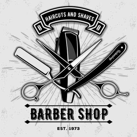 Barbería vintage etiqueta, insignia o emblema con tijeras, cortapelos y navajas de afeitar sobre fondo gris. Cortes de pelo y afeitados. Ilustración vectorial