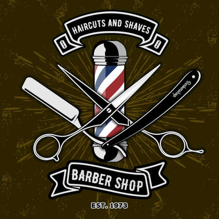 Barber Shop Logo with barber pole in vintage style. Vector template Stock Illustratie