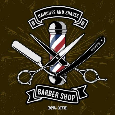 Logo del negozio di barbiere con palo del barbiere in stile vintage. Modello di vettore