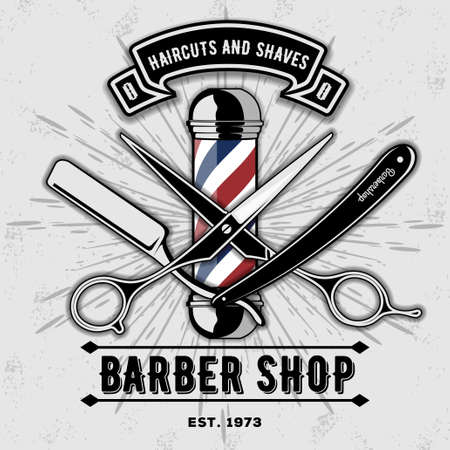 Barber shop vector vintage label, badge, or emblem on gray background. Vector template Illustration