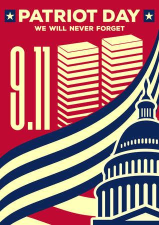 Patriot Day vintage spandoek of poster. We zullen 11 september nooit vergeten. Vector illustratie Vector Illustratie