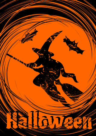 Grungy Halloween background with Halloween Witch. Vector Illustration.