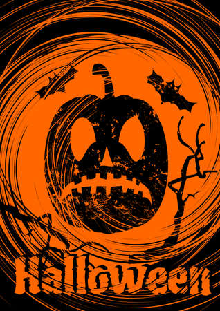 Grungy Halloween background with scary pumpkins. Vector Illustration. Illustration