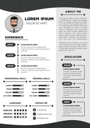 Resume and CV Template with nice minimalist design. Vector illustration Vectores
