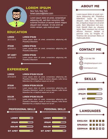 Resume and CV Template with nice minimalist design. Vector illustration 矢量图像