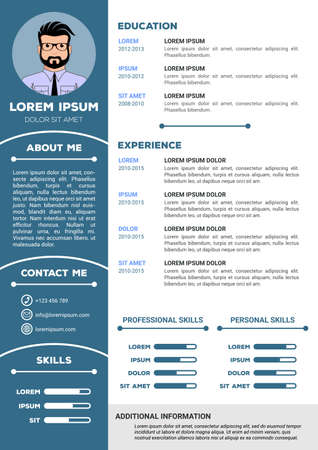 Resume and CV Template with nice minimalist design. Vector illustration Illustration