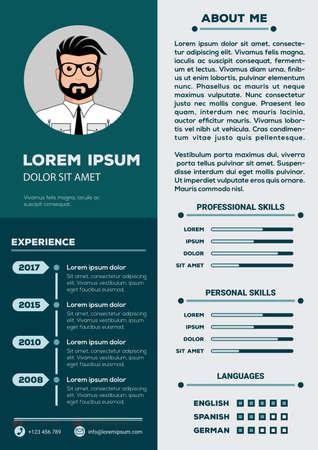 Resume and CV Template with nice minimalist design. Vector illustration Illustration