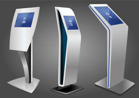 Three Promotional Interactive Information Kiosk, Advertising Display, Terminal Stand, Touch Screen Display. Mock Up Template.
