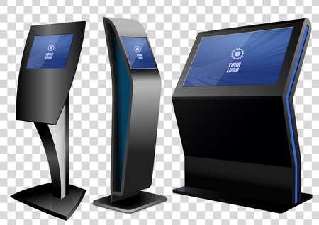 Tres quiosco de información interactiva promocional, pantalla publicitaria, soporte terminal, pantalla táctil aislada sobre fondo transparente. Plantilla de maqueta. Ilustración de vector