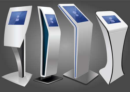 Cuatro quiosco de información interactiva promocional, pantalla publicitaria, soporte terminal, pantalla táctil. Plantilla de maqueta.