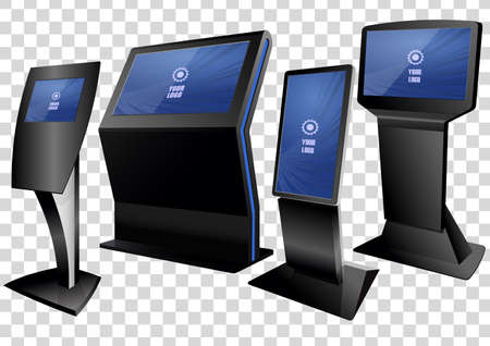 Four Promotional Interactive Information Kiosk, Advertising Display, Terminal Stand, Touch Screen Display isolated on transparent background. Mock Up Template.