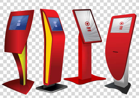 Four Red Promotional Interactive Information Kiosk, Advertising Display, Terminal Stand, Touch Screen Display isolated on transparent background. Mock Up Template.