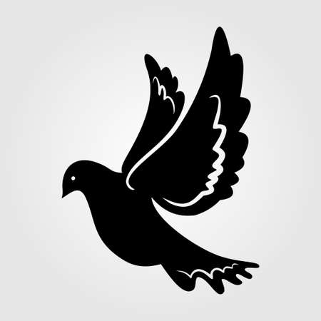 Dove silhouette, icon isolated on white background.