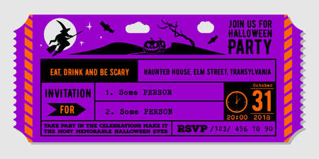 Vintage Halloween party invitation design template. Vector Illustration