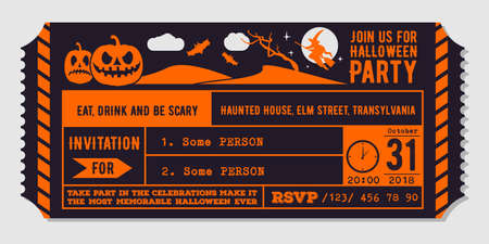 Vintage Halloween party invitation design template. Vector Illustration