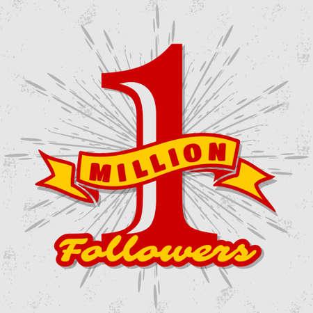 1 Million followers or subscribers achivement symbol. Vector illustration. Иллюстрация