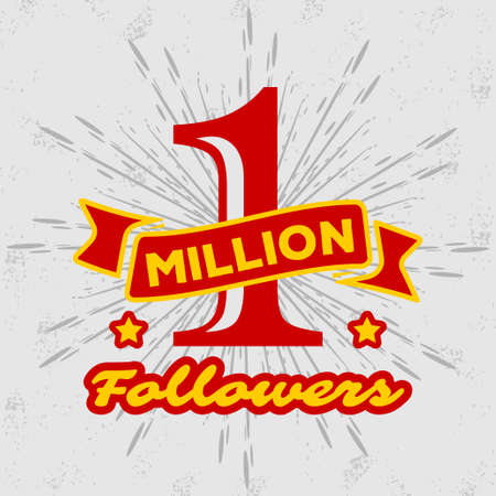 1 Million followers or subscribers achivement symbol. Vector illustration.