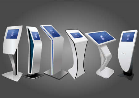 Sześć promocyjnych interaktywnych kiosków informacyjnych, wyświetlacz reklamowy, stojak terminalowy, wyświetlacz z ekranem dotykowym. Szablon makiety.