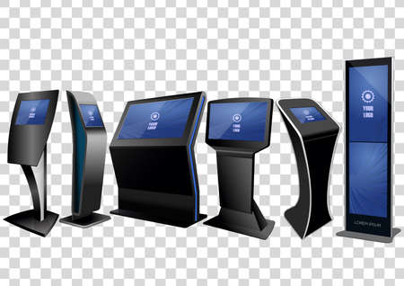 Six Promotional Interactive Information Kiosk, Advertising Display, Terminal Stand, Touch Screen Display isolated on transparent background. Mock Up Template.