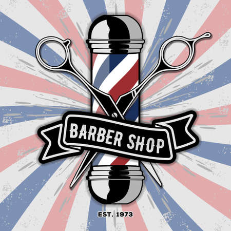 Barber shop vintage label, badge, or emblem. Vector illustration