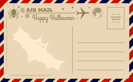 Vintage Halloween Postcard. Vector illustration.