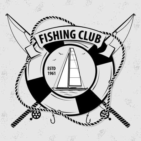 Fishing Sport Club logo with Sailing Ship and Lifebuoy. Vector illustration. Logo