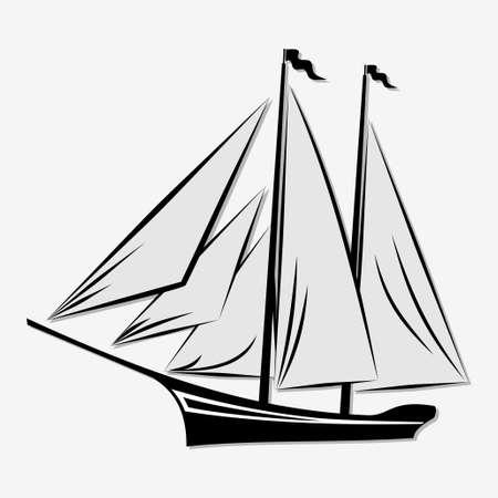 Sailing ship isolated on white background. Vector illustration.