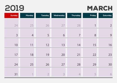 Maart 2019. Kalender planner ontwerpsjabloon. Week begint op zondag.