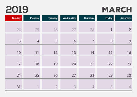 March 2019. Calendar planner design template. Week starts on Sunday. 矢量图像
