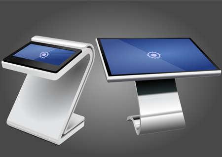 Dos quiosco de información interactiva promocional, pantalla publicitaria, soporte terminal, pantalla táctil. Plantilla de maqueta. Ilustración de vector