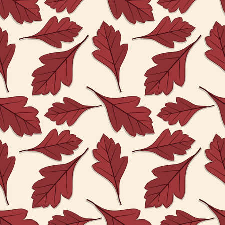 Seamless pattern with hawthorn  autumn leaves. Vector illustration.