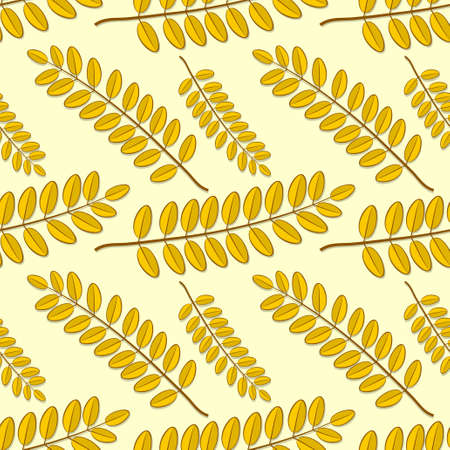 Seamless pattern with acacia autumn leaves. Vector illustration.