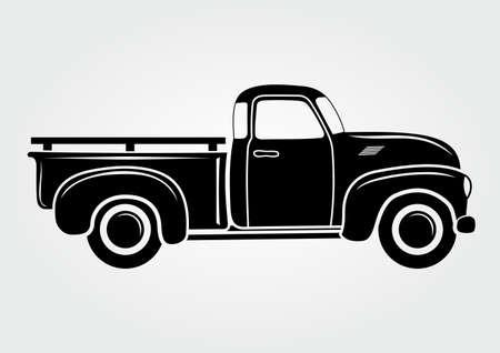 Pick-up vintage, camion. Illustration vectorielle. Véhicule de transport rétro