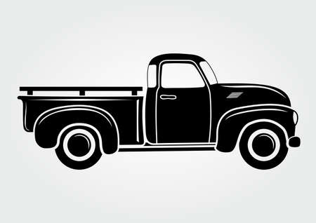 Vintage pickup, truck. Vector illustration.  Retro transport vehicle Vettoriali