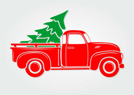 Christmas greeting card. Vintage pickup, truck with Christmas tree. Vector illustration. Archivio Fotografico - 109904713