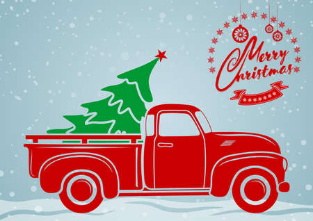 Christmas greeting card. Vintage pickup, truck with Christmas tree. Vector illustration.