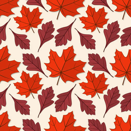 Seamless pattern with maple and hawthorn autumn leaves. Vector illustration.