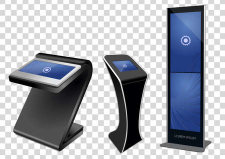 Three Promotional Interactive Information Kiosk, Advertising Display, Terminal Stand, Touch Screen Display isolated on transparent background. Mock Up Template. Illustration