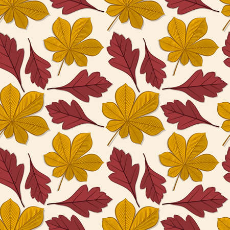Seamless pattern with chestnut and hawthorn autumn leaves. Vector illustration.