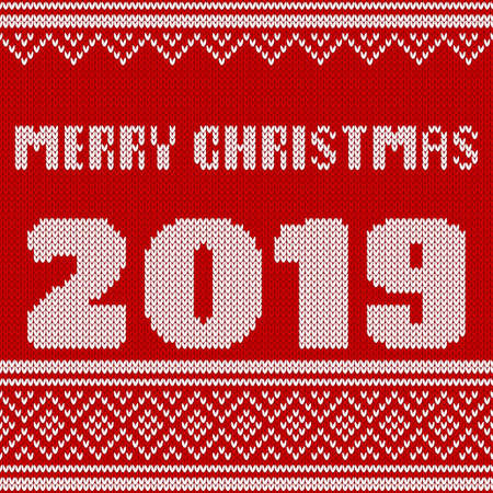 Merry Christmas, New Year Seamless Knitted Pattern with number 2019. Knitting Sweater Design. Wool Knitted Texture. Stitches grouped by rows. Easy to edit. Vector illustration