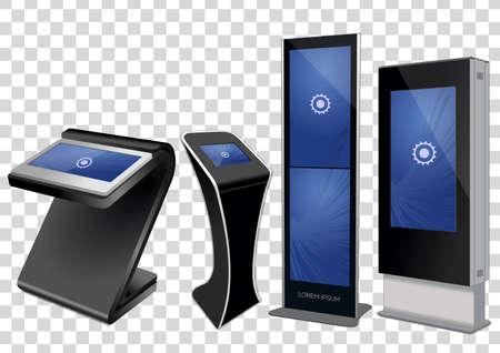 Quatre kiosques d'informations interactives promotionnelles, affichage publicitaire, support de terminal, écran tactile isolé sur fond transparent. Modèle de maquette. Vecteurs