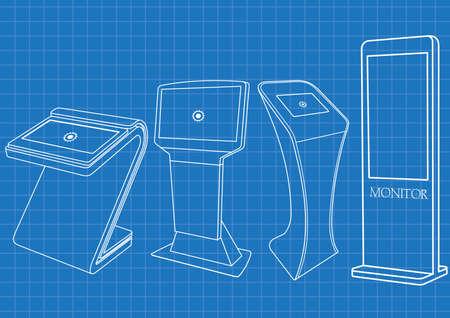 Blaupause von vier interaktiven Werbeinformationskiosken, Werbedisplay, Terminalständer, Touchscreen-Display. Mock Up Vorlage.