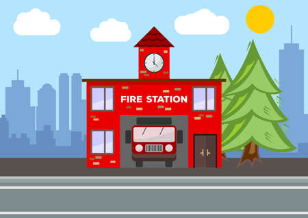Fire station building. City landscape concept. Flat design. Vector illustration.