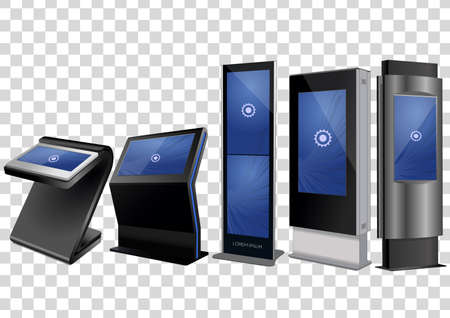 Five Promotional Interactive Information Kiosk, Advertising Display, Terminal Stand, Touch Screen Display isolated on transparent background. Mock Up Template. Vektoros illusztráció